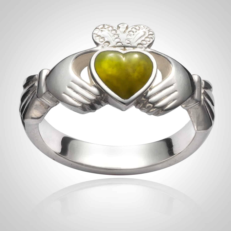 Heavy Connemara Marble Claddagh ring