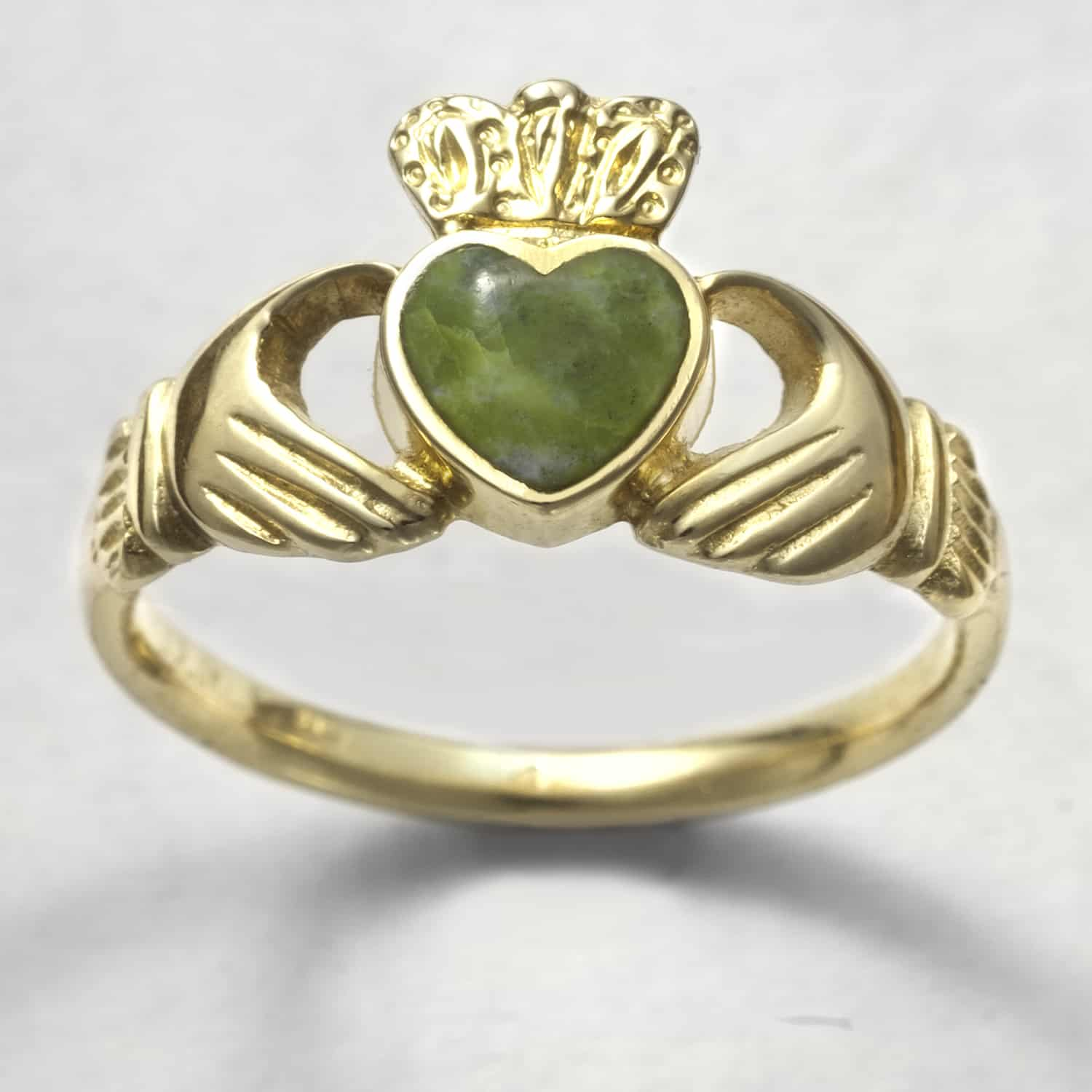 9ct Gold Marble Ladies Claddagh Ring